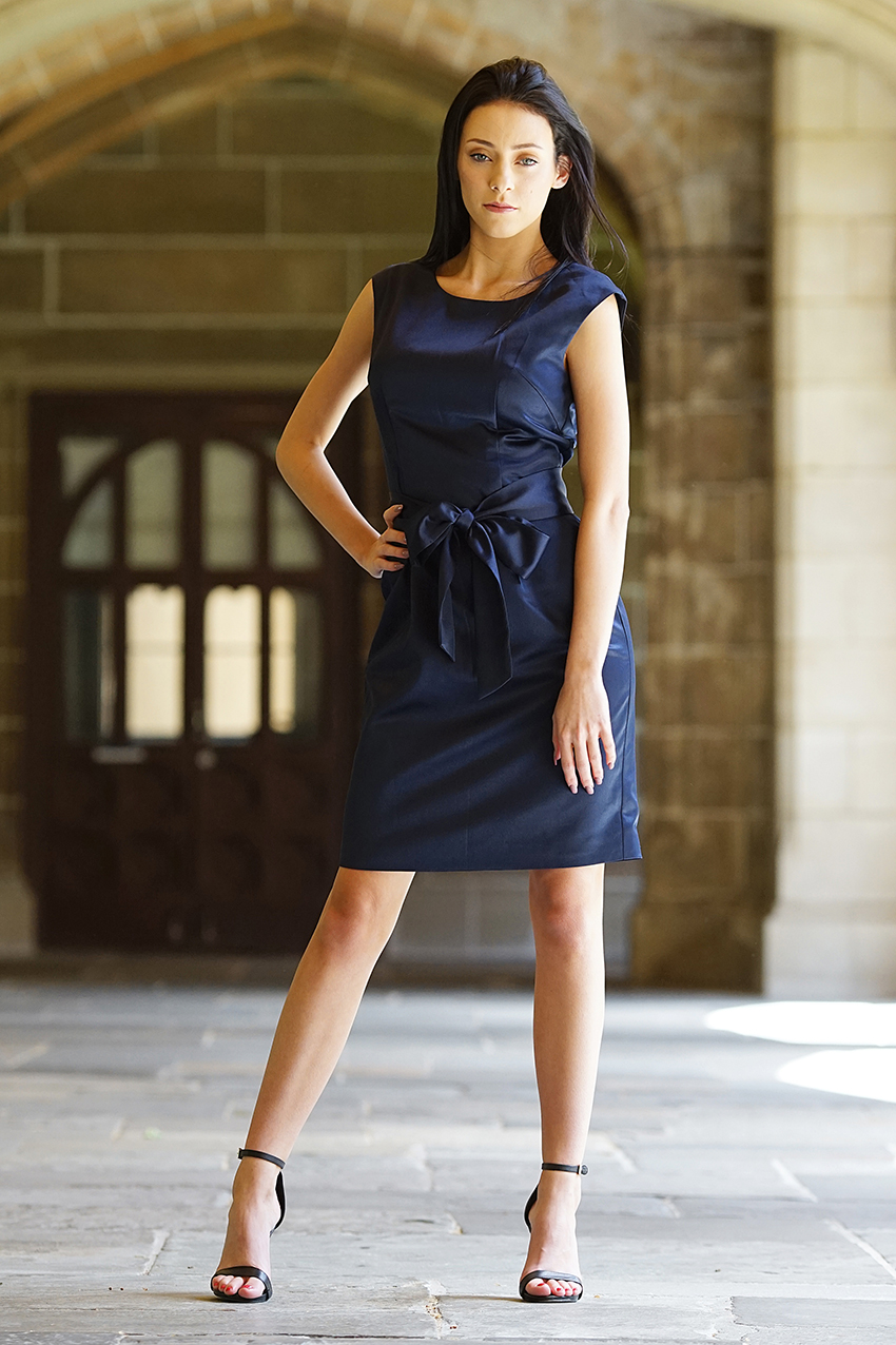 Classic Satin Sheath Dress Blue