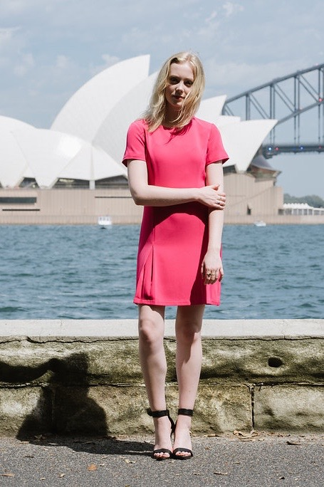 Fusion Pink Classic Short Sleeve Sheath Dress